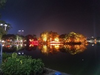 Hoan Kiem Lake lit up at night