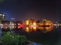 Hoan Kiem Lake lit up at night