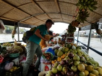 Nguyen helping prepare our fruit samples.