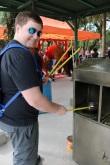 John lighting the incense