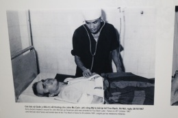 Photo of Sen. John McCain receiving medical attention during this time at Hoa Lo.