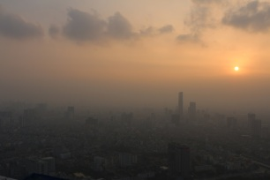 Smoggy view from 65th floor of Lotte Hotel.