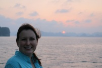 Windy sunset on Ha Long Bay