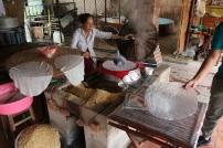 Making rice paper.
