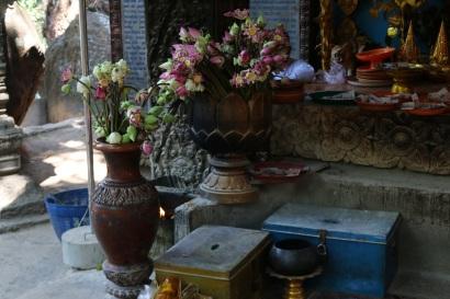 Flowers left for Buddha