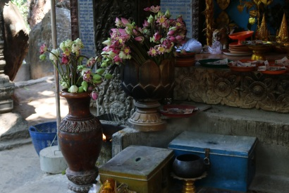 Flowers left for Buddha