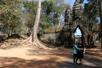 Posing by the Angkor Thom north gate