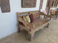 Gorgeous Balinese bench that we promptly decided we needed. After two days of searching, we finally found one! It costs a. lot. to ship to the U.S. though, so TBD on whether or not we'll spring for it.