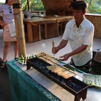 The sous chef grilling our chicken satay!