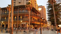 Our hotel at dusk. It's located on a promenade with lots of restaurants and cafes.