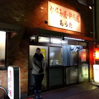 Waiting for a table at the Okonomiyaki spot.